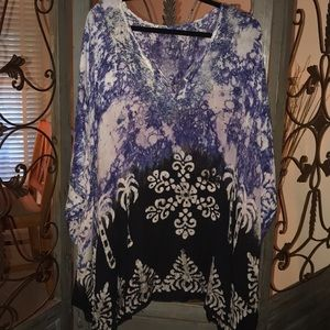 Tops - Size 5xl blue and black tunic or coverup.NWOT